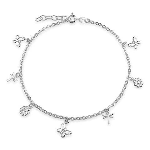 Butterfly Sterling Silver Flower Dragonfly Charm Anklet 9in