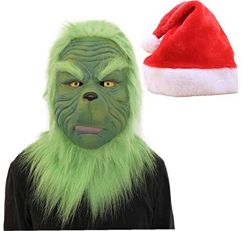 FUGUI Grinch Kostüm, Weihnachten Grinchmaske mit Weihnachtsmütze Grinch Kostüm Latex Kostüm Maske Sammlerstück Prop Scary Spielzeug für Weihnachts Parade (Grinch Kostüm Maske)