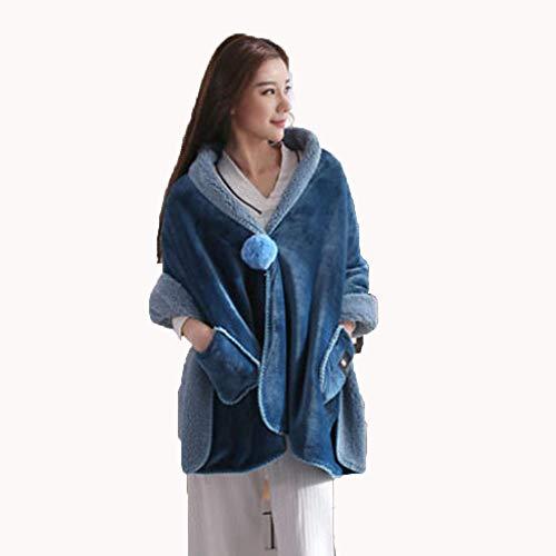 Ky&cl scialle per le donne (uomini), scialle avvolgente caldo, fatto di flanella, adatto per vivere room\bedroom\dormitories (blu),onesize/170 * 65cm