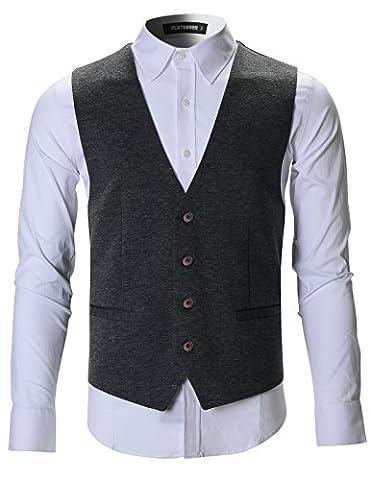 FLATSEVEN Herren Designer Stilvolle Lässige Weste (VE701) Grau, XXL
