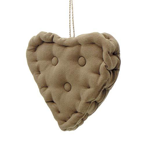 Blanc Mariclo Oreiller Pendentif, Coussin décoratif en Forme de Coeur, Coussin Coeur Shabby Chic et Romantique - Matelassé - 18x18 - Brun - 100% Coton