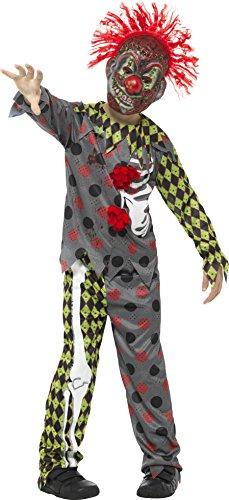 Smiffys, Kinder Unisex Deluxe Verdrehtes Clown Kostüm, Oberteil, Hose und Maske mit Haaren, Alter: 10-12 Jahre, (Schuhe Clown Böse)