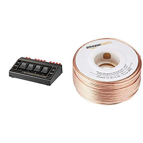 Goobay 11934 Lautsprecher Umschaltbox, Zum Anschluss von bis zu 4 Lautsprecherpaaren, Schwarz & AmazonBasics Lautsprecherkabel 1,3 mm² / 16 Gauge, 30,48 m (100 Fuß) Avs-switch-boxen
