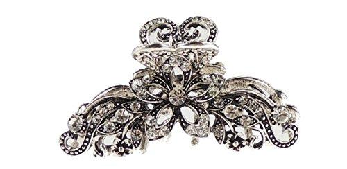 Glamour Girlz Vintage Silber grau Metall Floral mit 8cm Haarklammer Clip Floral Floral Aus Metall