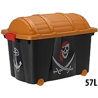 Preisvergleich für Spielzeugkiste Spielzeug Aufbewahrungsbox Rollbox Schatztruhe Pirat 60x40x42cm