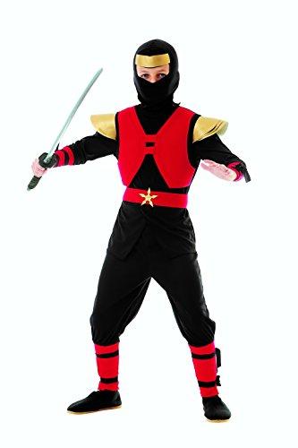 Magicoo Royal Ninja Kostüm Kinder rot-schwarz-Gold - komplettes Kinder Ninja Kostüm Jungen rot (128/134) (Rote Und Schwarze Ninja Kostüm)