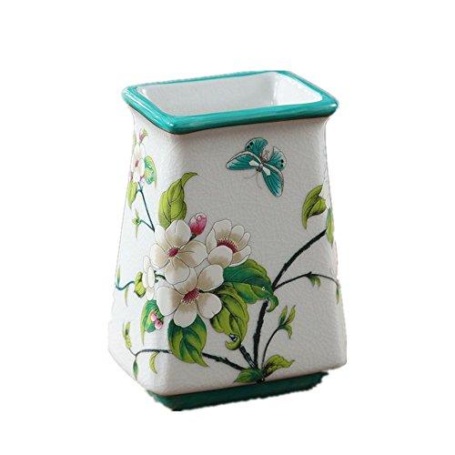 Snowfig portaspazzolino da bagno detergente per spazzolini da denti in ceramica multifunzione a forma di mela bianco fiore portapenne porta spazzolino
