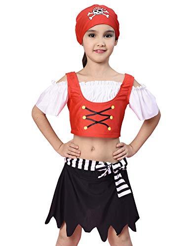 nzug Kostüm,Pirat Dress Up Badebekleidung Pool Strand Badeanzug mit Badekappe 7-8 Jahre ()