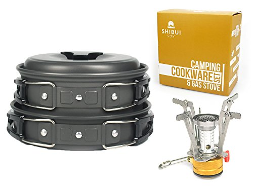 Camping Cooking Equipment Set by Shibui | Lightweight, Folding, Non-Stick | Great for Hiking and Backpacking Outdoors | 8 Piece Collapsible Cookware Kit + Gas Stove