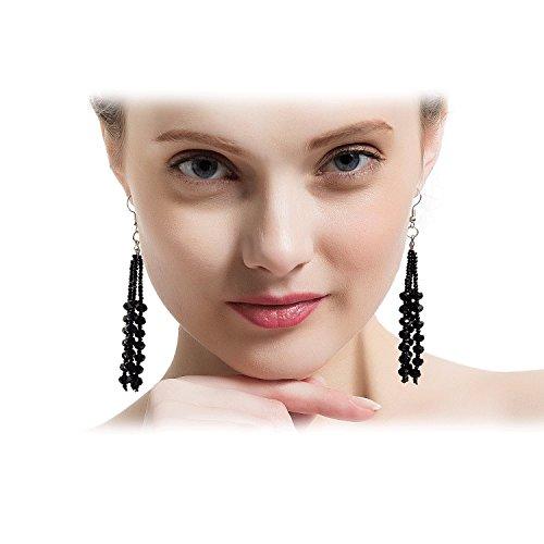 Die 1920er Kollektion Vintage Style Holzkohle schwarz Multitier Perlen Ohrringe für Frauen (Cross-klappe)