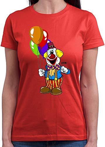 HARIZ  Damen T-Shirt Rundhals Clown Luftballons Fröhlich Karneval Kostüm Inkl. Geschenk Karte Rot XL
