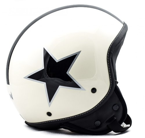 Soxon SP-301 Star 'Creme' · Jet-Helm · Motorrad-Helm Roller-Helm Scooter-Helm Bobber Mofa-Helm Chopper Retro Cruiser Vintage Pilot Biker Helmet Brille · ECE Schnellverschluss Tasche M (57-58cm)