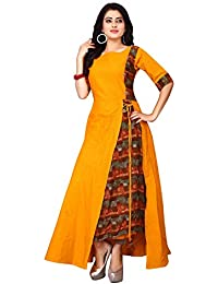 Om Sai Latest Creation Women's Stitched Rayon & Cotton Printed Anarkali Kurti