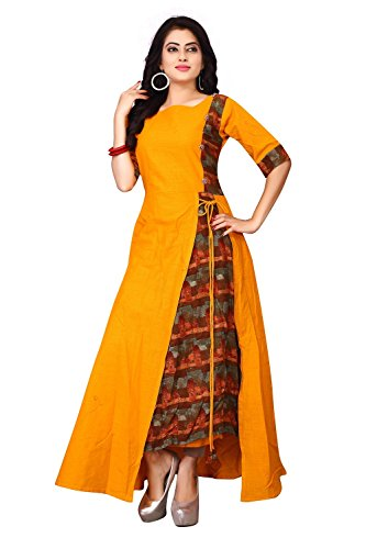 Leriya Fashion Women's Stitched Rayon & Cotton Printed Anarkali Kurti (Yellow, Medium)