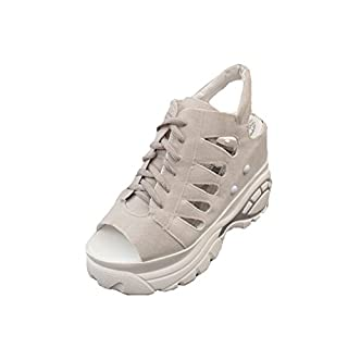 ANDAY Women's Casual Summer Hollow Peep-Toe Platform Sandals Gym Sports Shoes Lace Up Grey