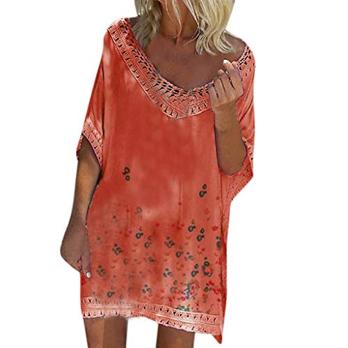 Riou Strandkleid Damen Sommer Große Größen Kurz Bat Low Cut Boho Sommerkleid Elegant Günstig für Mode Frauen Lässige Lose Print Beach Strand Mini Kleid
