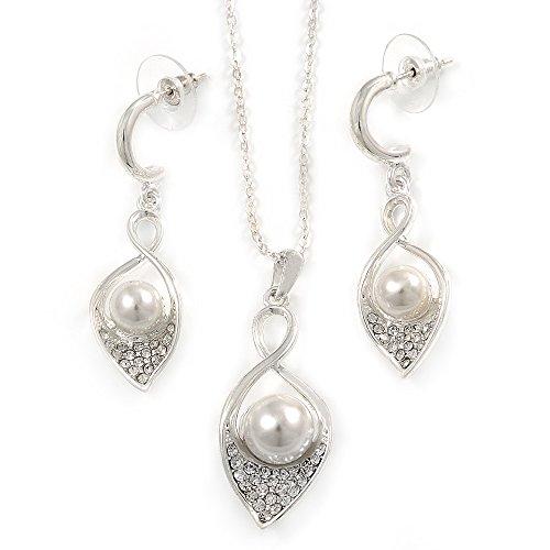 Cristallo trasparente, Bianco Perle di Vetro Calla Lily Ciondolo con catena e orecchini a goccia in metallo placcato al rodio, 40cm L/5cm Ext, orecchini l (45mm)