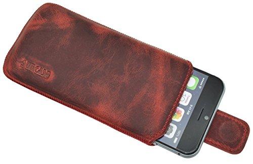 "iPhone 7 Plus (5.5"") Original Suncase® Ledertasche Tasche Case Schutzhülle Hülle (mit ZUSÄTZLICHER Transparent Hülle + 9H Panzerglas) in rustik-mocca braun antik-rot"