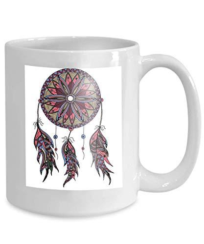 Café Té Taza Taza color atrapasueños plumas estilo zentangle doodle dibujado a mano se puede utilizar 110z