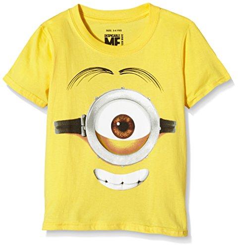 MINIONS Stuart Face, T-Shirt Bambino, Giallo, 7-8 Anni