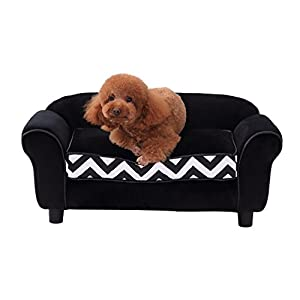 PawHut Pet Sofa Couch Dog Cat Wooden Sponge Sofa Bed Lounge Comfortable Luxury w/Cushion