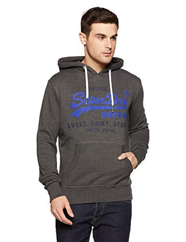 Superdry Men's Sweat Shirt Shop Duo Hood Jumper, Grey (Winter Charcoal Marl Vq4), Medium