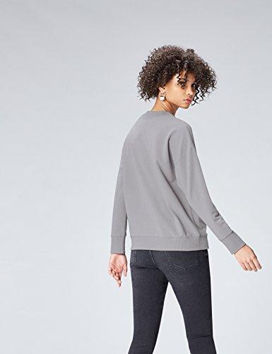 FIND Damen Hochgeschlossenes Sweatshirt mit Feinrippeinsatz Grau (Mid Grey)