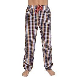 Pantalón de pijama suelto de hombre | Pantalón de pijama de caballero, moderno, a cuadros | ropa de dormir para hombre - Talla L - Popelín, 100% algodón - Color marino, naranja y rosa