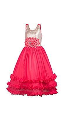 My Lil Princess Baby Girls Birthday Party wear Frock Dress_Ocean Red Frock_Satin and Net Fabric_4 - 10 Years