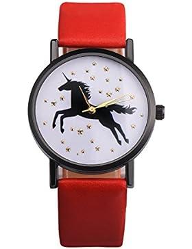 Souarts Damen Armbanduhr Einfach Stil Einhorn Muster Analoge Quary Uhr mit Batterie Rot