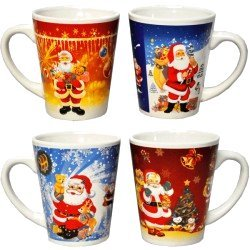 4 Mugs de Noël Evasé avec Père-noël