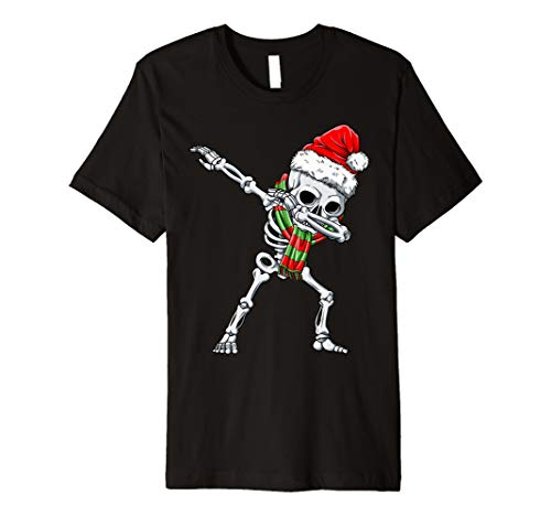 Dabbing Skelett Weihnachtsmann T shirt Weihnachten -
