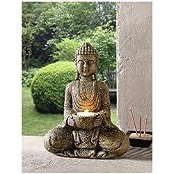 """Portavelas """"Buda"""" poliresina desgastado por el tiempo en imitación piedra natural altura 26 cm, apto para velas con max, diámetro 4,5 cm, sin vela"""