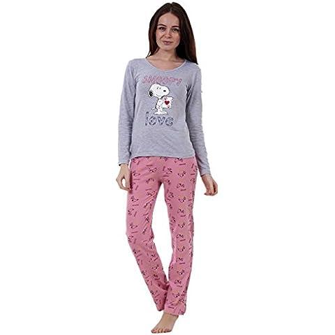 Snoopy - Conjunto de pijama Snoopy de manga larga para mujer Pijama de Mickey o de Minnie Mouse para