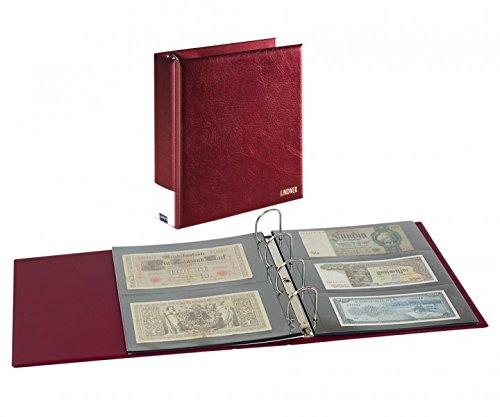 PUBLICA L - Album pour Billets de Banque [Lindner 3506BN] avec 20 Feuilles Transparentes, Couleur: Bordeaux