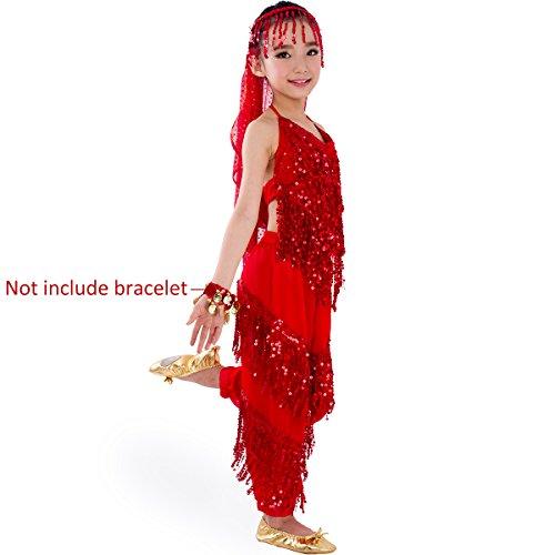 SymbolLife Petites filles Belly Dance costume, pantalon de harem + Halter Top + Head Sets Echarpe Rouge