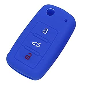 Keyzone Silicone Key Cover Blue For Volkswagen 3 Button Flip Key