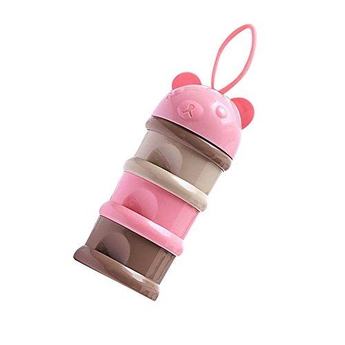 Fyore Baby Säugling Portionierer Milchpulver Geschichtet Tragbar 3 Schichten Reisen Oder Ausgehen für Snack Oder Pulver 24 * 8cm (Rosa)