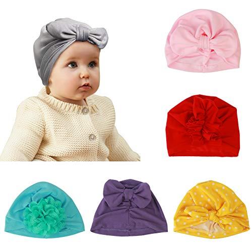 ZoomSky 6er Babymütze Boho Neugeborene Baby Mädchen Mütze Hut Kleinkind Kopf...