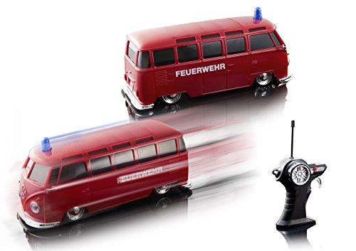 RC Auto kaufen Spielzeug Bild 4: Maisto Tech R/C VW Bus Feuerwehr: Ferngesteuertes Auto mit Licht & Sound, Maßstab 1:24, Pistolengriff-Fernsteuerung, 5.8 km/h, 20 cm, rot (582091F)*