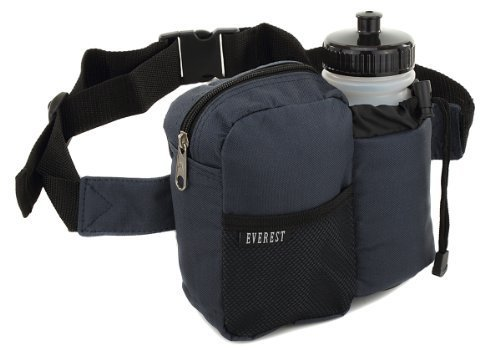 Everest BH-14NB Insulated Water Bottle Waist Hip Fanny Pack Bag Navy + Bottle by Everest