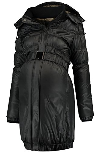Love2Wait Damen Umstandsmode Jacken Mantel DOWN COAT Parker long Jacket schwarz XS (32-34)