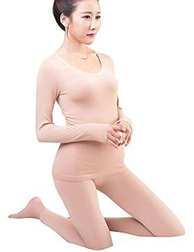 Mujer Ropa Interior Cuello Redondo Camisa De Manga Larga + Pantalones Termicos