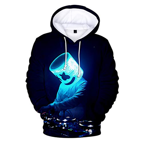 SERAPHY DJ Marshmello Hoodies Elektronische Musik Langarm Pullover Jumper 3D-Druck Hip Hop Mode Unisex Kapuzenpullover Geschenke-126-M