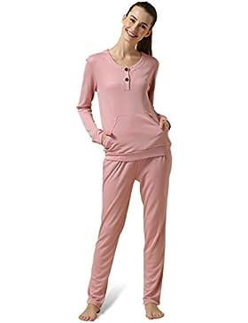 CHUNHUA La signora modale a maniche lunghe tuta grandi cantieri pigiama , pink , female xl (165/88a)
