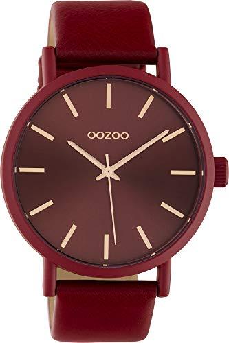 Oozoo Damenuhr mit Lederband 42 MM Colours of Oozoo Unicolor Rot C10445