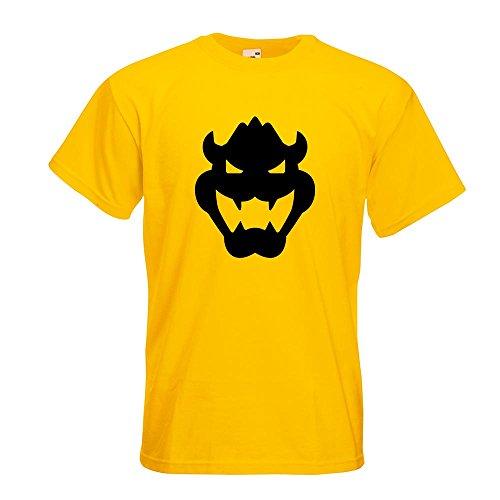 KIWISTAR - Bowser Kopf T-Shirt in 15 verschiedenen Farben - Herren Funshirt bedruckt Design Sprüche Spruch Motive Oberteil Baumwolle Print Größe S M L XL XXL Gelb