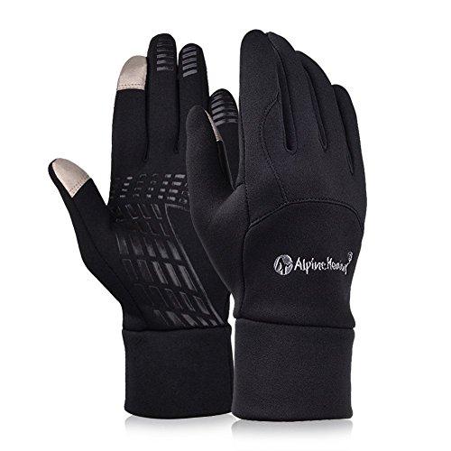 Alando Winter Touchscreen Handschuhe Unisex Sporthandschuhe Winddichte Fahrradhandschuhe Winterhandschuhe mit Touchscreen-Funktion (Vintage-Schwarz, M)