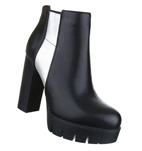 Damen Stiefeletten Schuhe Kurzschaft Zipper High Heel Stiletto Schwarz Weiß 36 37 38 39 40 41 Model Nr1Schwarz