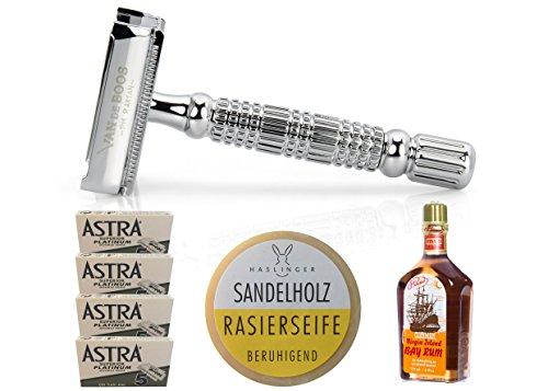 VAN DE BOOS Premium Rasier Set inklusive Premium Butterfly Rasierhobel, 20 Astra Platinum Rasierklingen, Haslinger Rasierseife Sandelholz (60 Gramm) & Pinaud Clubman Bay Rum (177ml)
